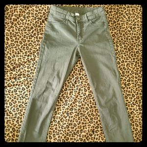 H&M skinny ankle olive green jeans